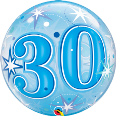 30th Blue Stars Bubble Balloon